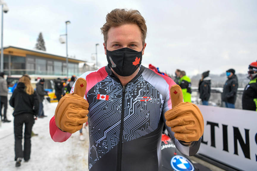 Justin Kripps of Summerland gives the thumbs-up at a recent competition in Germany. (IBSF photo)